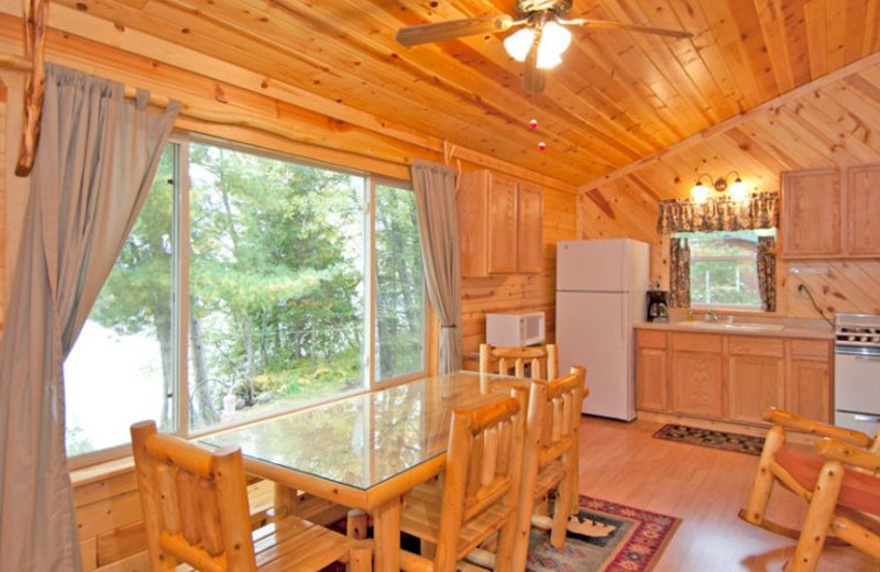Cabin kitchen and dining room at Moose Track Adventures Resort.