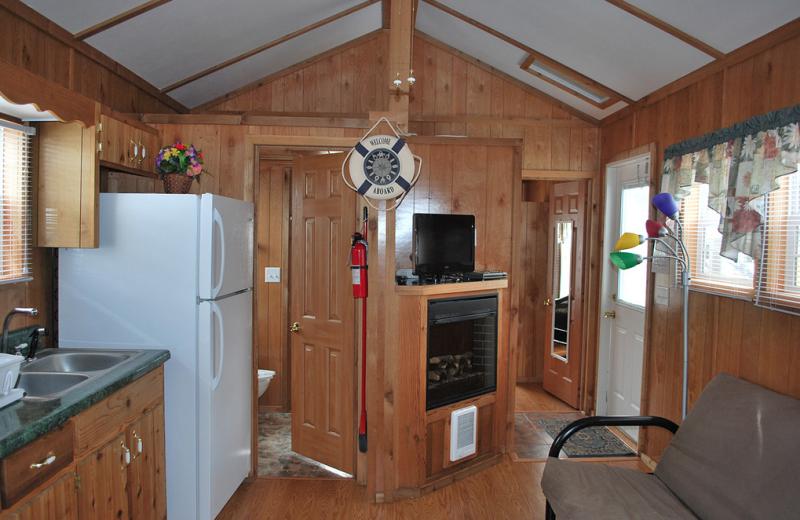 Cabin interior at Gulf Pines RV Park.