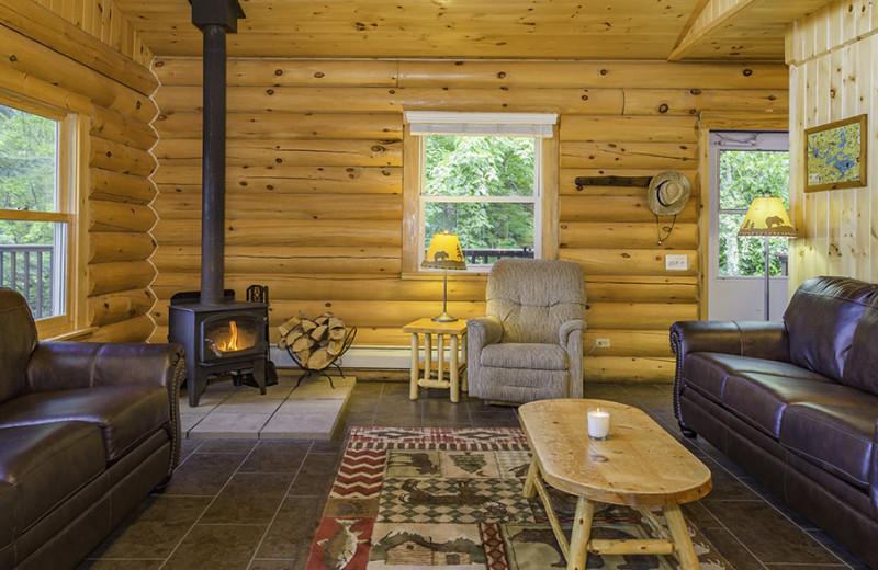Cabin living room at White Eagle Resort.