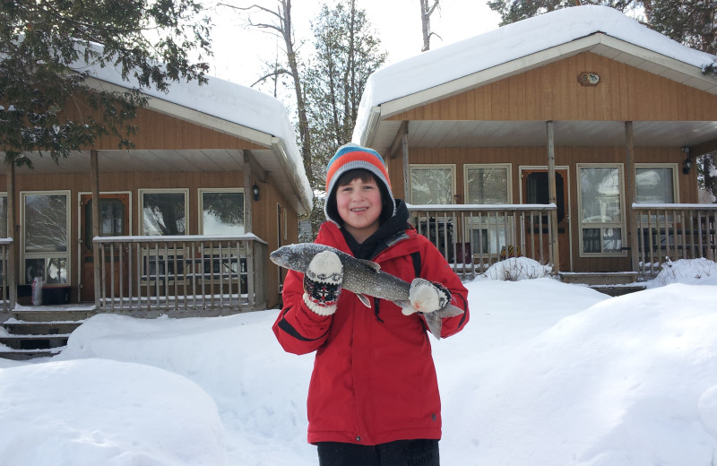 Ice fishing at Ogopogo Resort.
