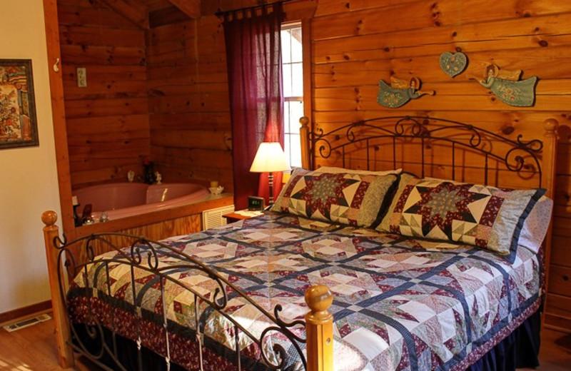 Cabin bedroom at Georgia Mountain Rentals.
