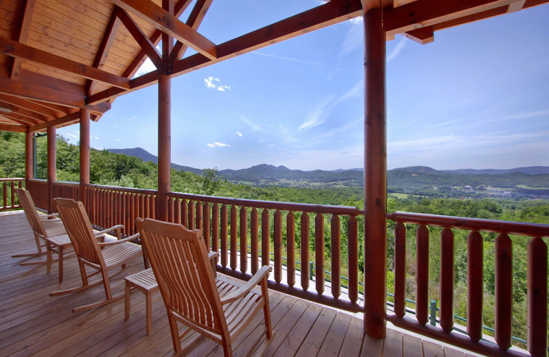 Cabin deck view at Cabin Fever Vacations.