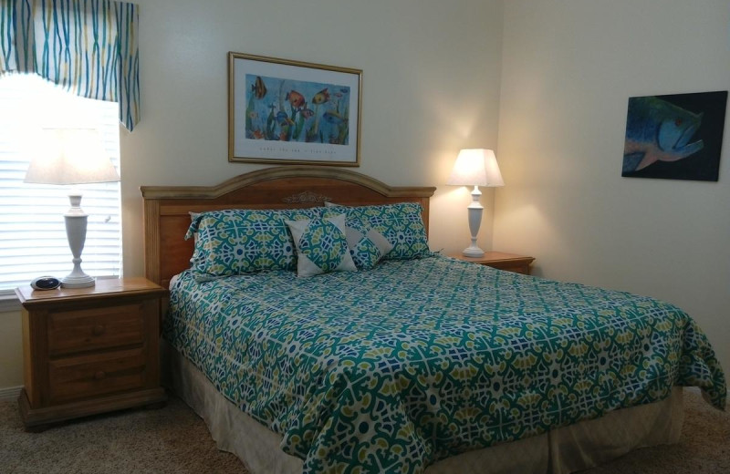 Rental bedroom at Beachfront Rentals.