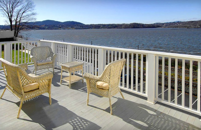 View of the Hudson River from balcony at The Rhinecliff Hotel.