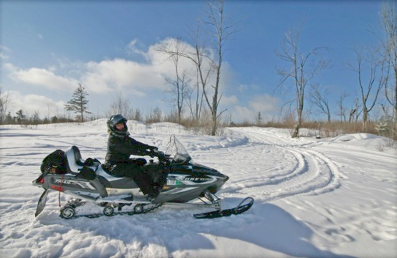 Snow mobile at Gunflint Lodge.