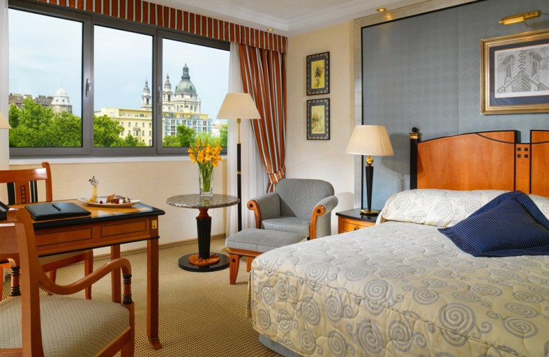 Guest room at Kempinski Hotel Corvinus Budapest.