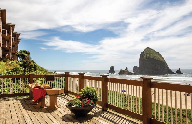 Porch view at Hallmark Resort in Cannon Beach.