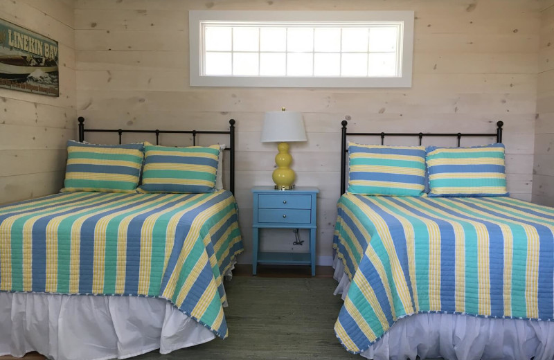 Cabin bedroom at Linekin Bay Resort.