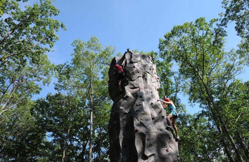 Rock climbing at Woodloch Resort.