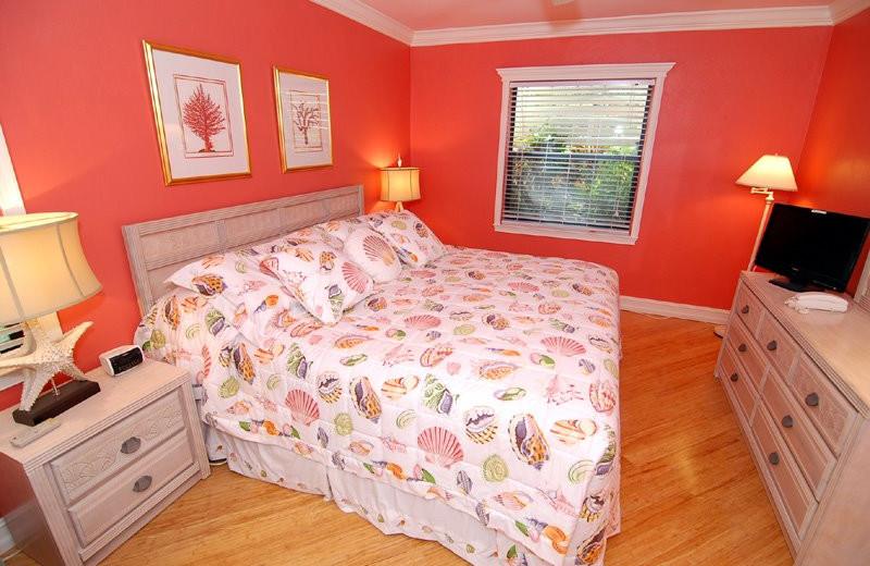 Guest room at Sanibel Moorings Condominiums.