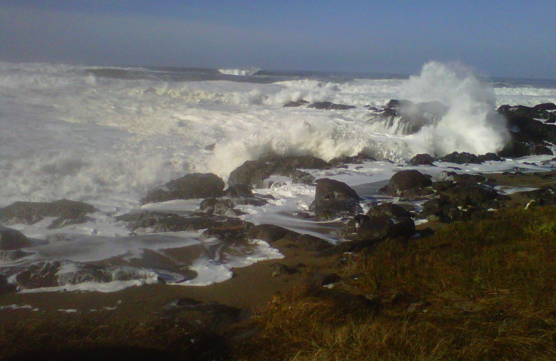 Waves crashing on the shore at Adobe Resort.