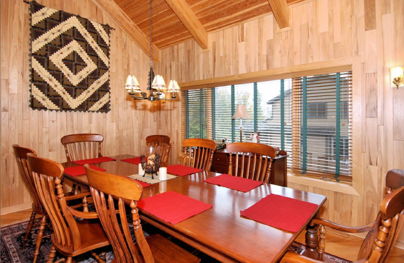 Vacation rental dining room at Slope-Side Accommodation.