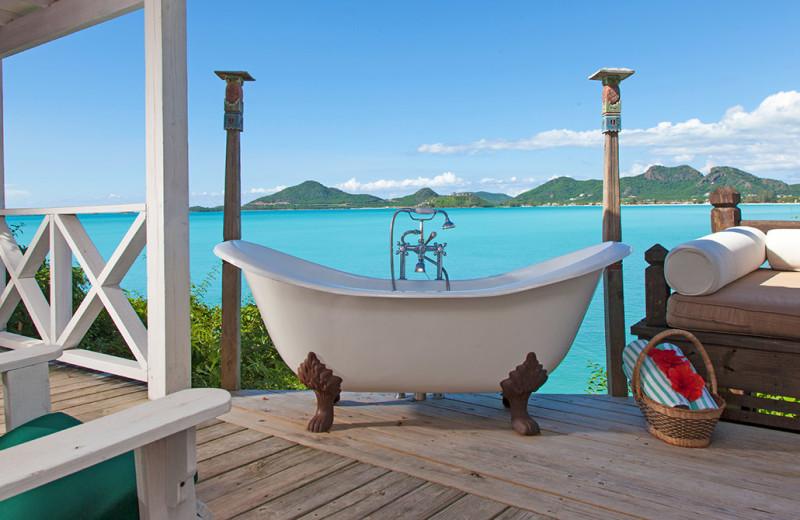 Guest patio at Cocobay Resort.