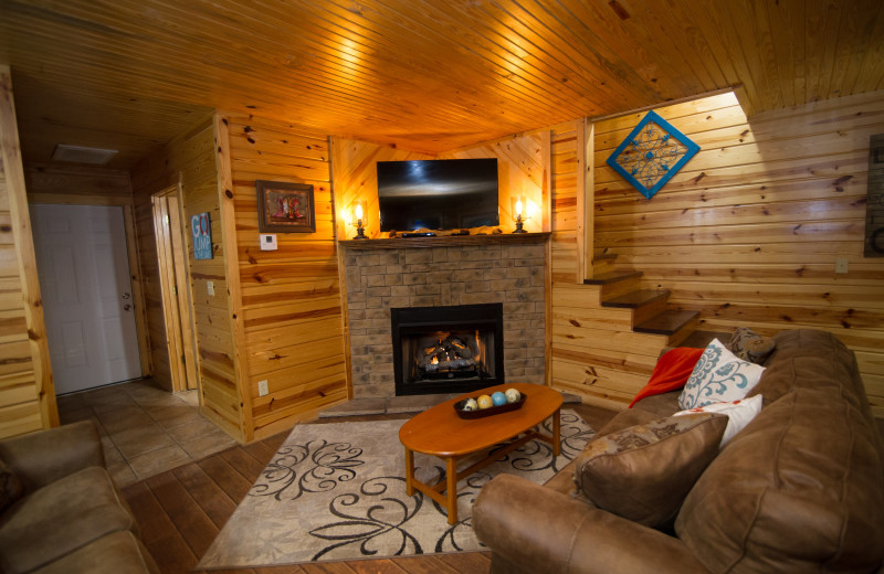 Cabin living room at Kiamichi Country Cabins.