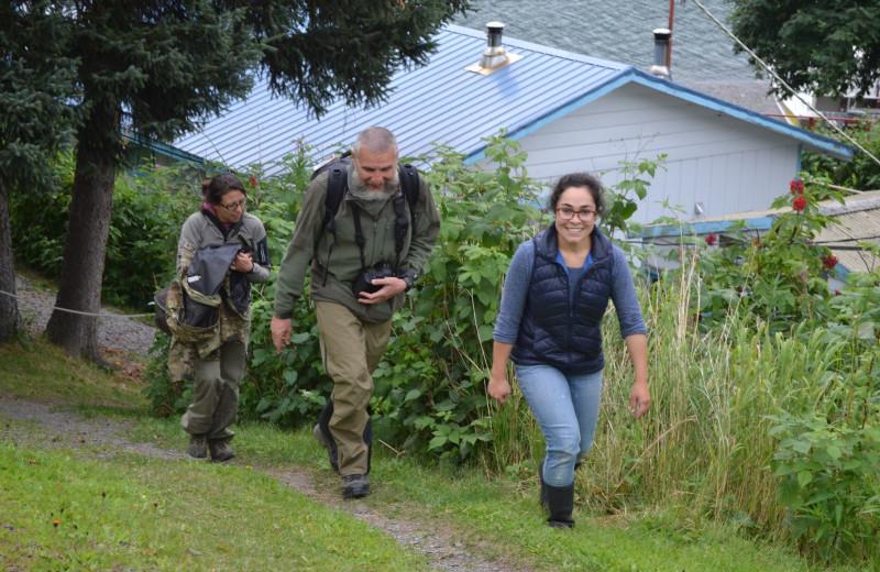 Hiking at Zachar Bay Lodge.