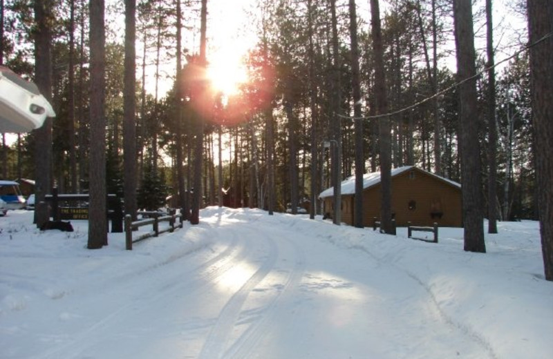 Winter cabins at Timber Bay Lodge