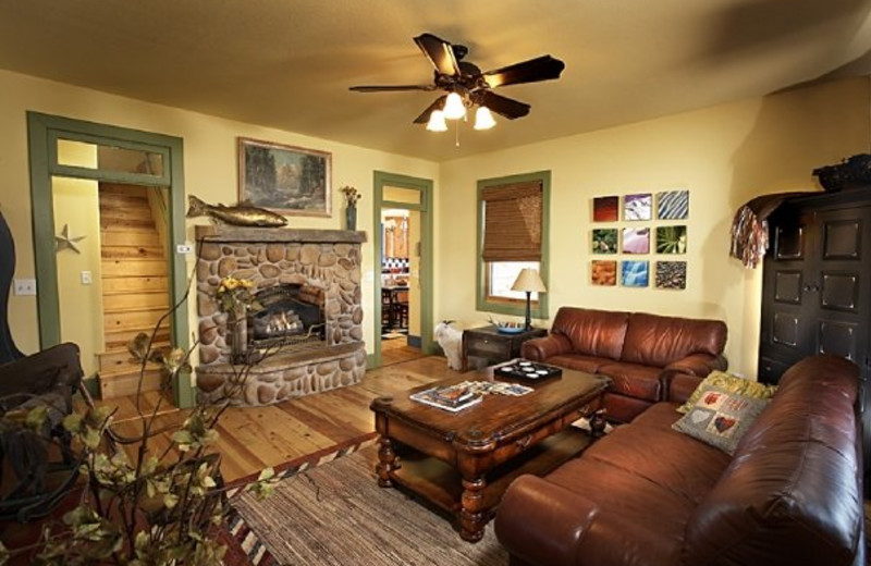 Farmhouse living room at Cottonwood Meadow Lodge.