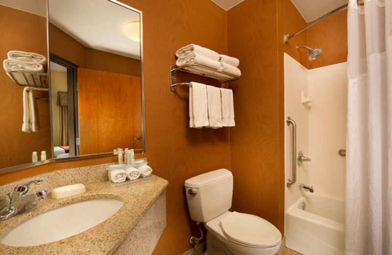 Guestroom bathroom at Holiday Inn Express San Antonio.