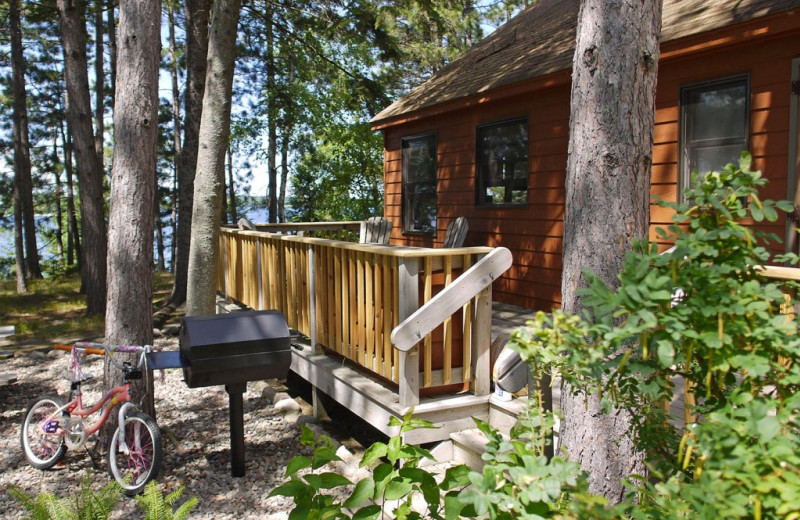 Cabin exterior at Black Pine Beach Resort.