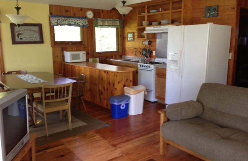 Cabin kitchen at Sandy Point Lodge.