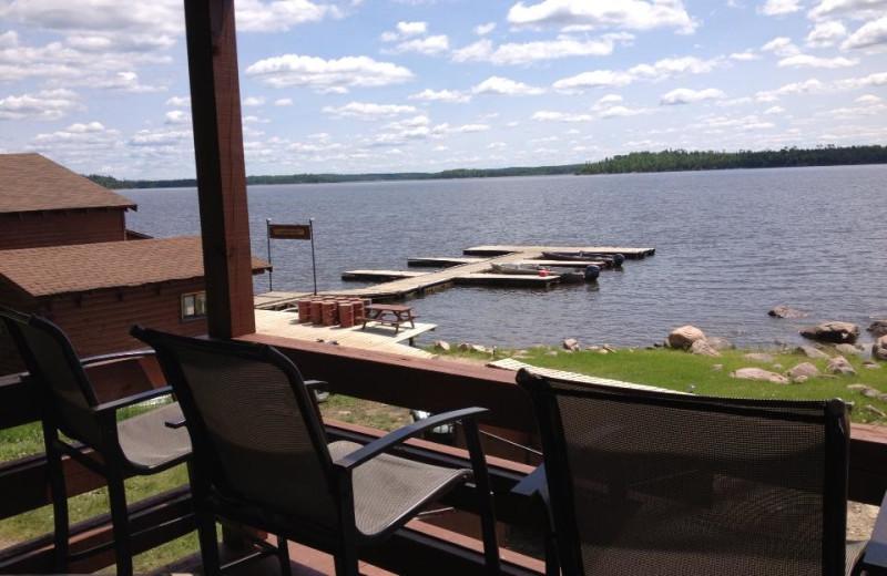 Balcony view at Maynard Lake Lodge and Outpost.