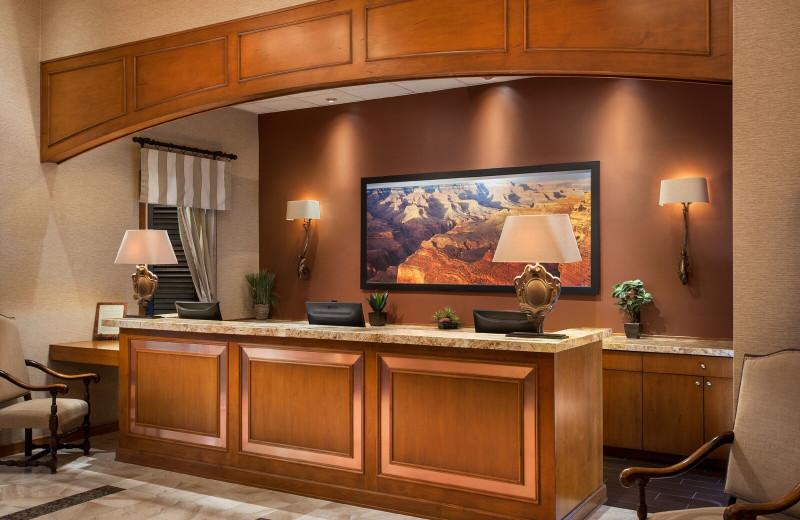 Reception desk at Gainey Suites Hotel.