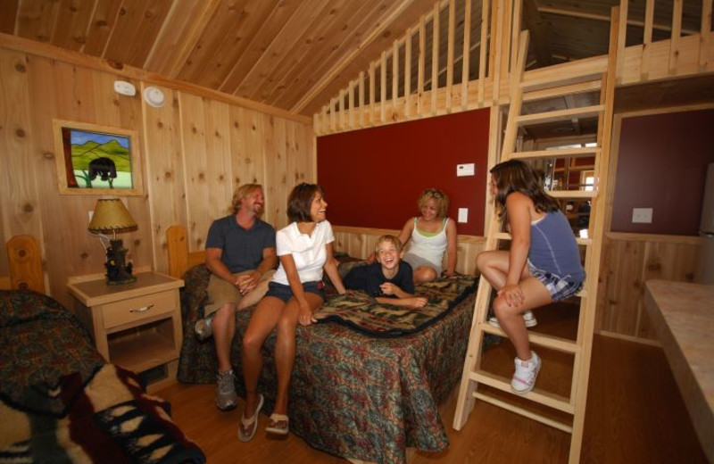 Cabin interior at Darien Lake Resort.