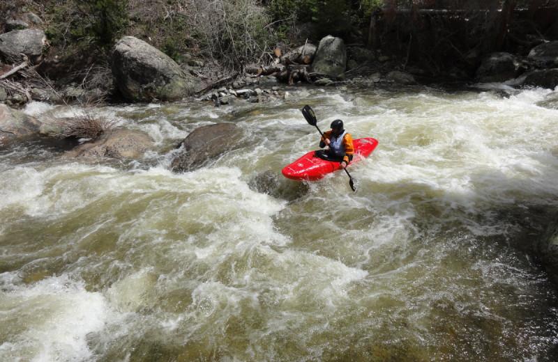 River kayaking at Steamboat Vacation Rentals.