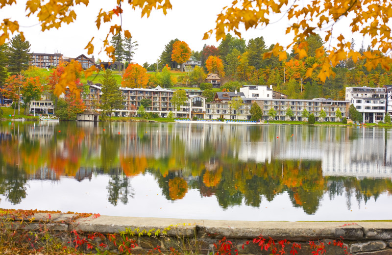 Fall views of the Golden Arrow from across Mirror Lake