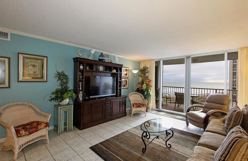 Rental living room at Shoreline Towers.