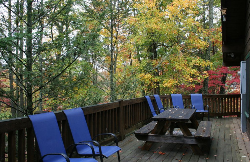 Cabin deck at Smoky Creek Cabin Rentals.