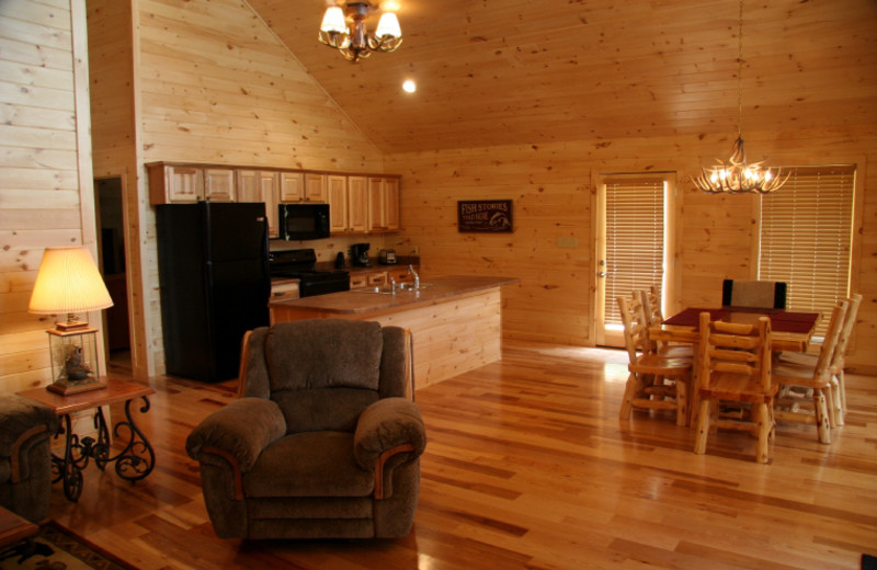 Cabin interior at Highland Marina Resort.