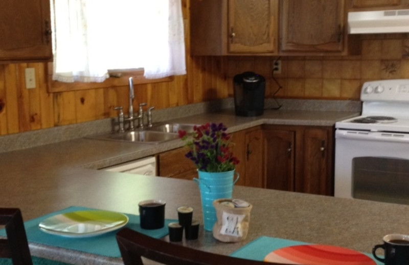 Cabin kitchen at Timber Wolf Lodge Cabins.