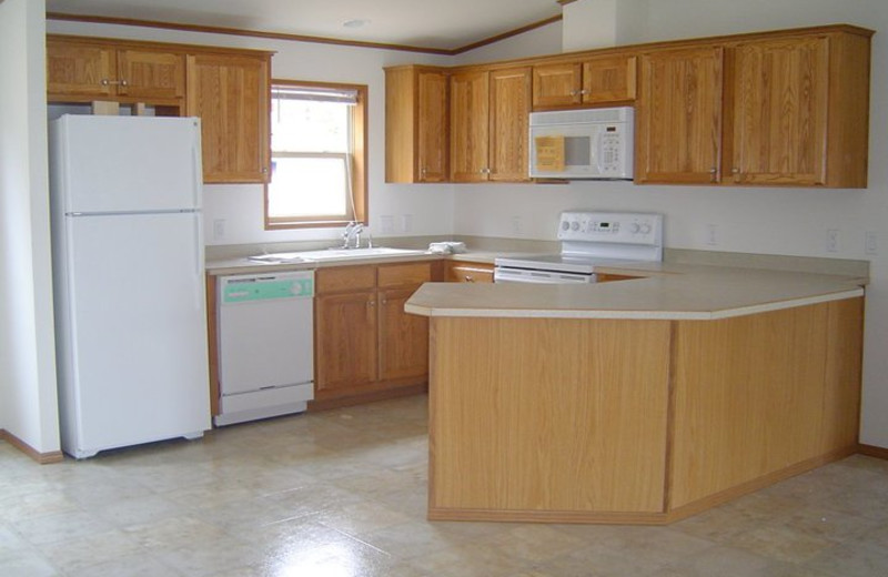 Cabin kitchen at Popp's Resort.