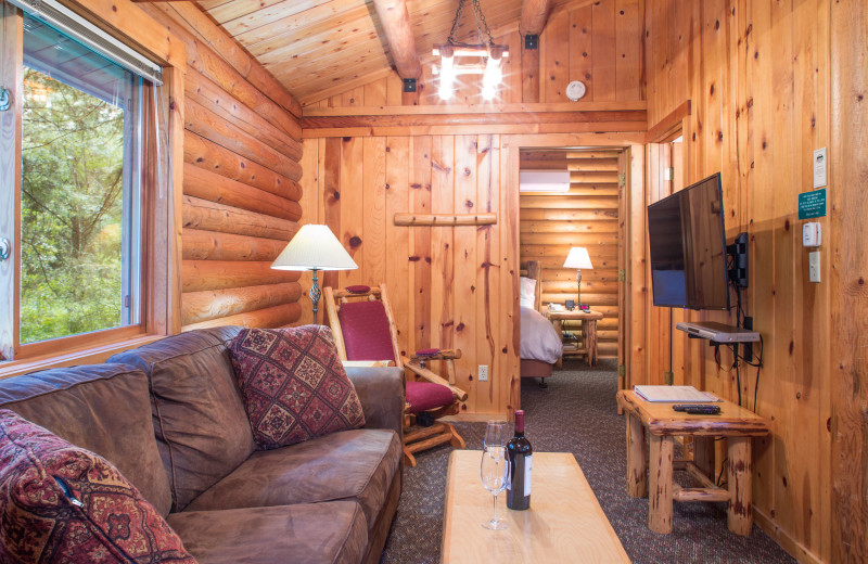 Cabin living room at North Forty Resort.