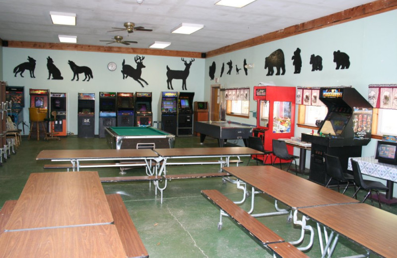 Recreation room at Hemlock Campground & Cottages.
