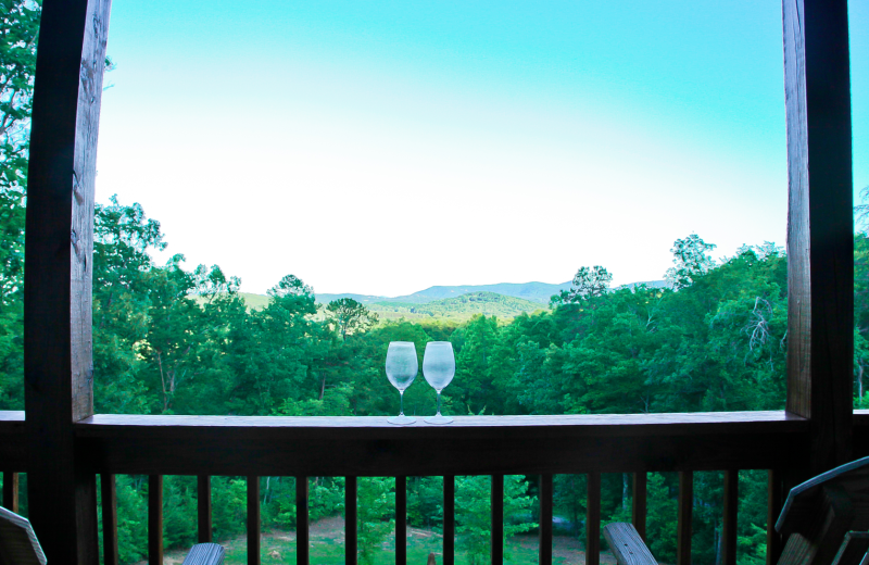 Deck view at Mountain Getaway Cabin Rentals.