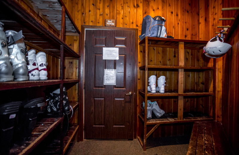 Boot room at Kandahar Lodge.