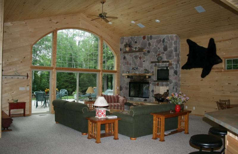 Cabin living room at Lakewoods Resort.
