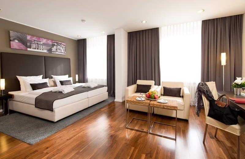 Guest room at Leonardo Royal Hotel Mannheim.