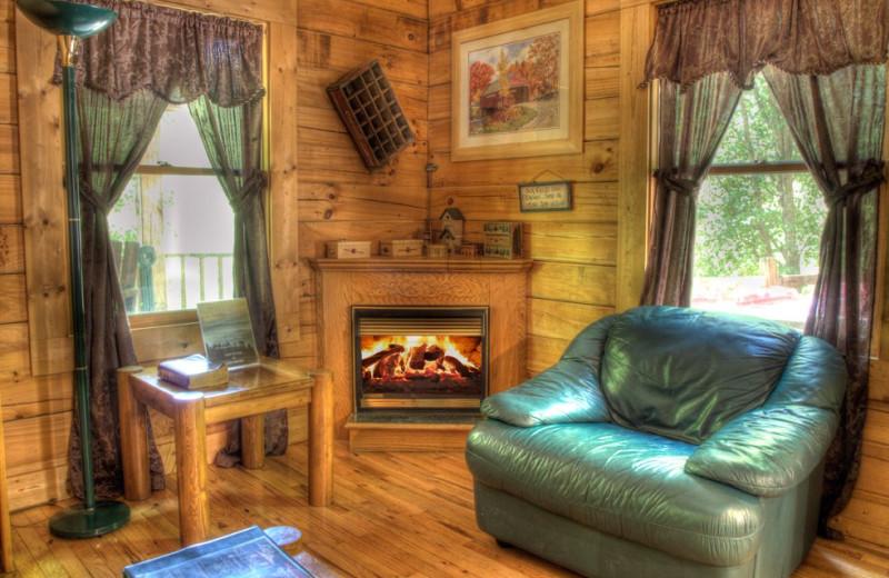 Cabin living room at Hidden Creek Cabins.