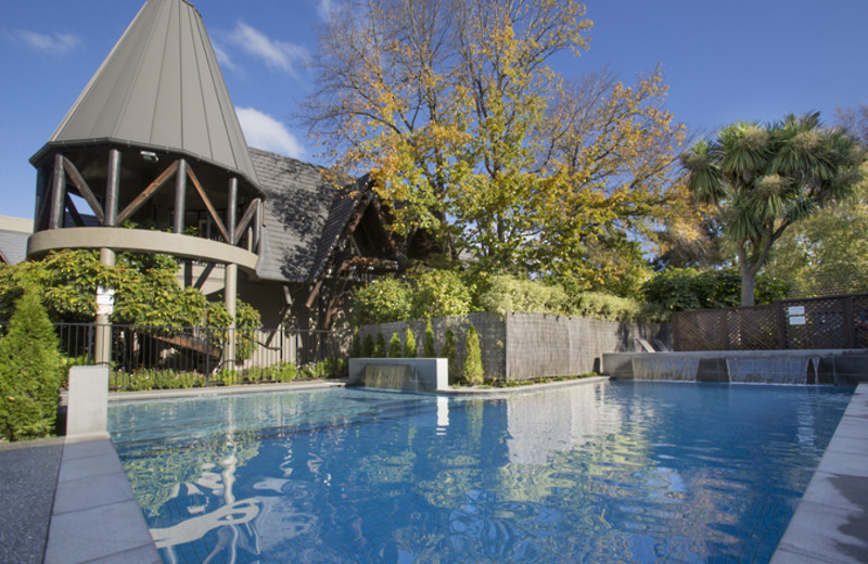 Outdoor pool at Chateau on the Park Hotel Christchurch.