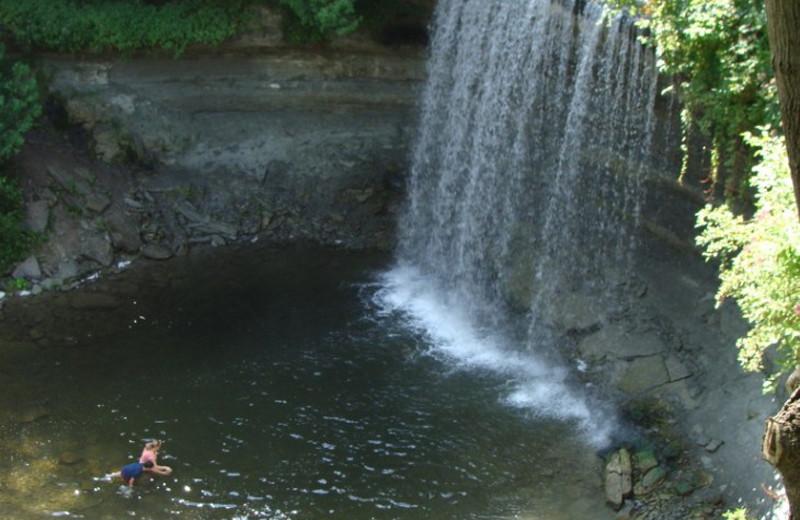 Waterfall at Evergreen Resort.