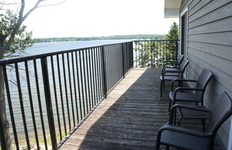 Guest balcony at Madden's on Gull Lake.