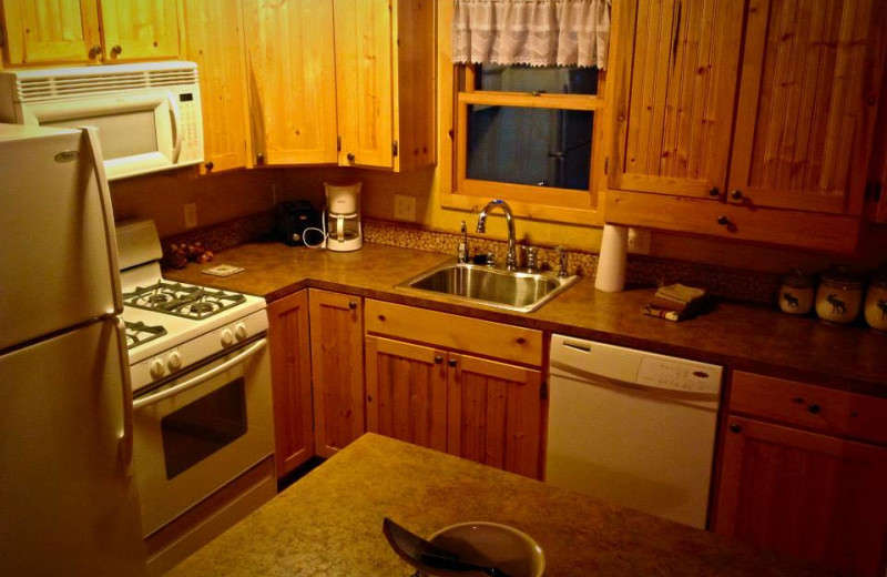 Cabin kitchen at Silver Mountain Resort and Cabins.