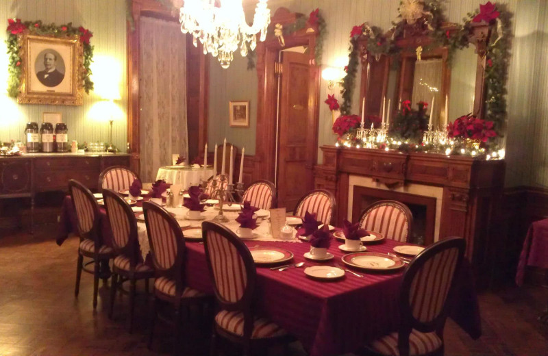 Dining room at Batcheller Mansion Inn Bed and Breakfast.