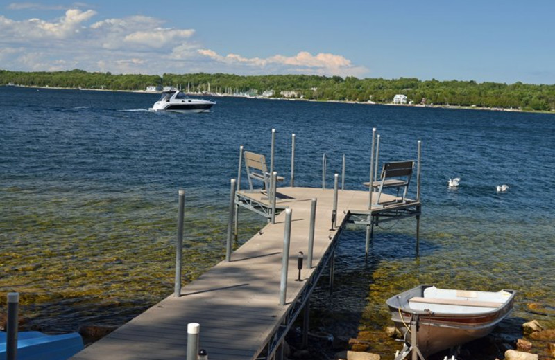 Dock on the waters of Sister Bay at the Country House Resort.