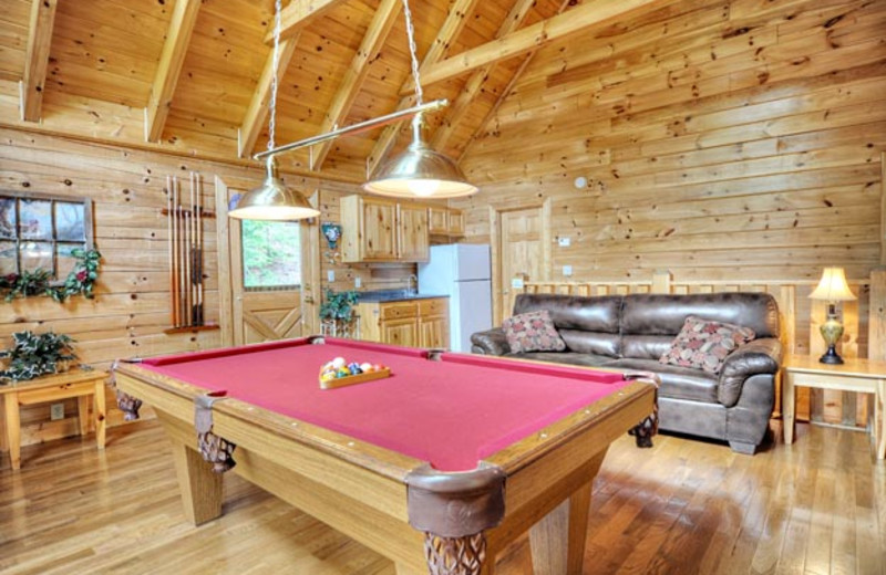 Cabin game room at Eagles Ridge Resort.