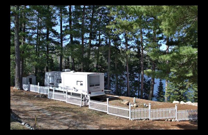 RV campsite at Silver Rapids Lodge.