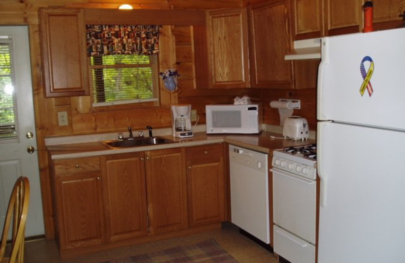 Cabin kitchen at Country Road Cabins.